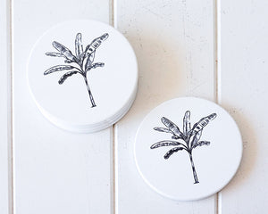 Banana Palm Solo Black Coasters Set of 4