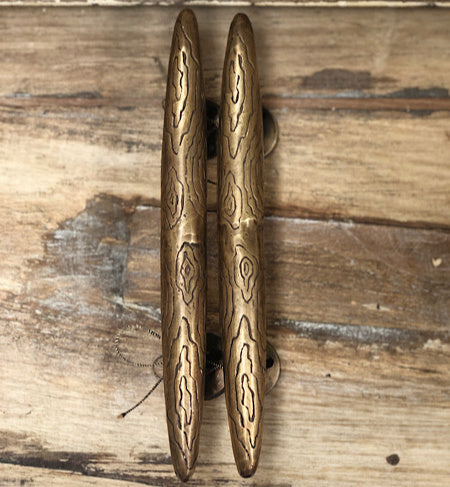 Hand carved Balinese brass door Handles Set of 2