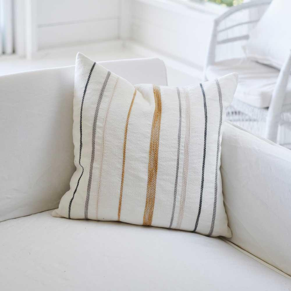Moro Cushion White with Multicoloured Stitching