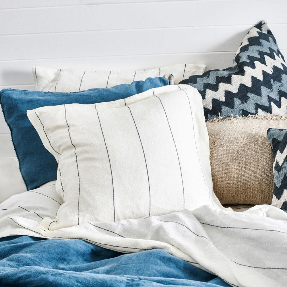 Carter Cushion with Charcoal Pinstripe