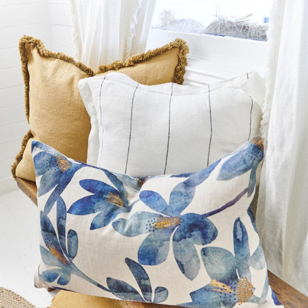 Tulip Cushion Blue/Mustard 40 x 60cm