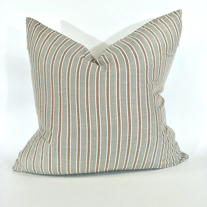 Kos Yarn Dyed, Terracotta & Grey French Linen Striped Cushion 60 x 60cm