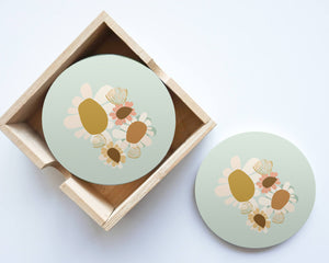 Sage Fleur Flowers Coasters Set of 4