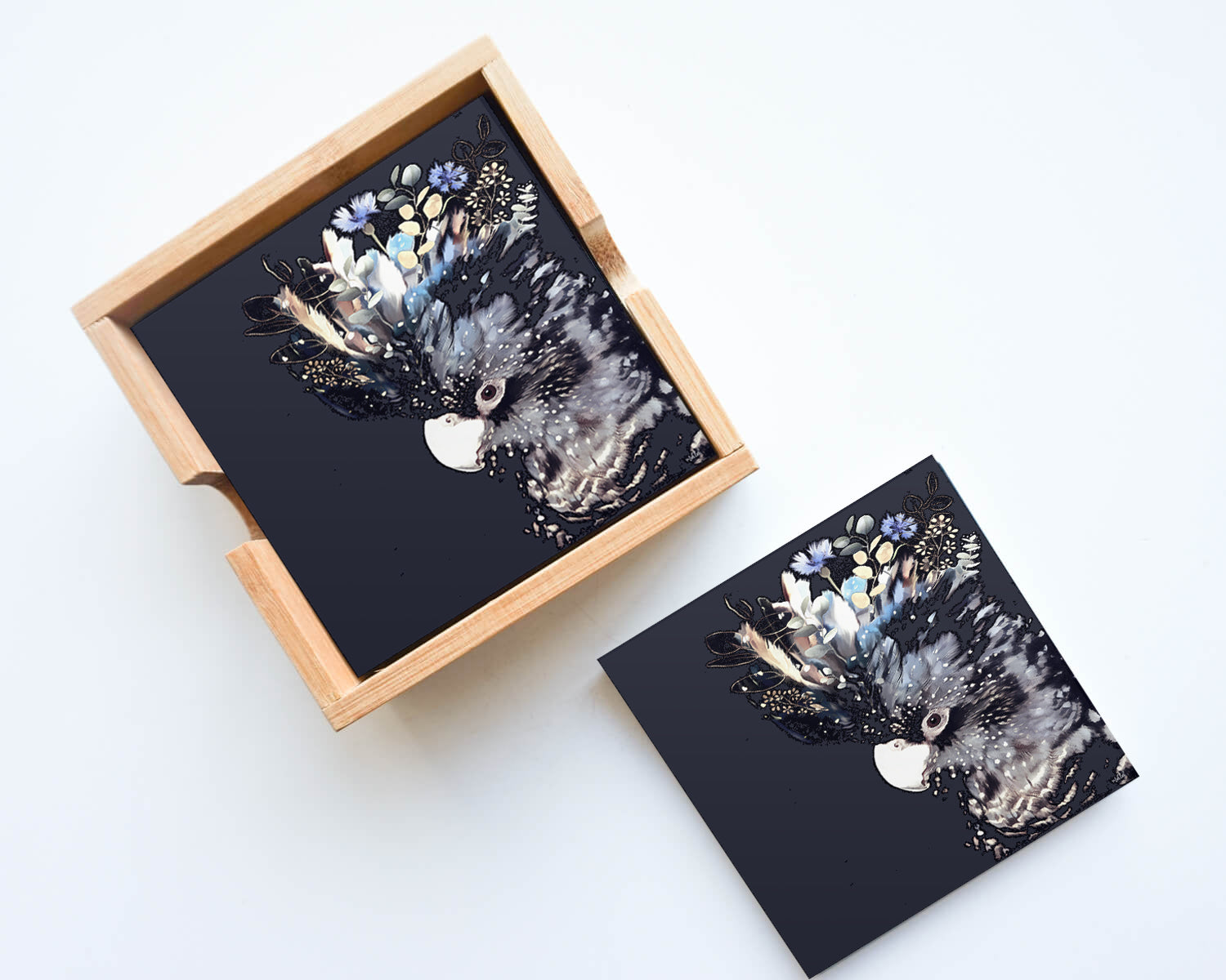 Blue/Black Cockatoo Coasters Set of 4