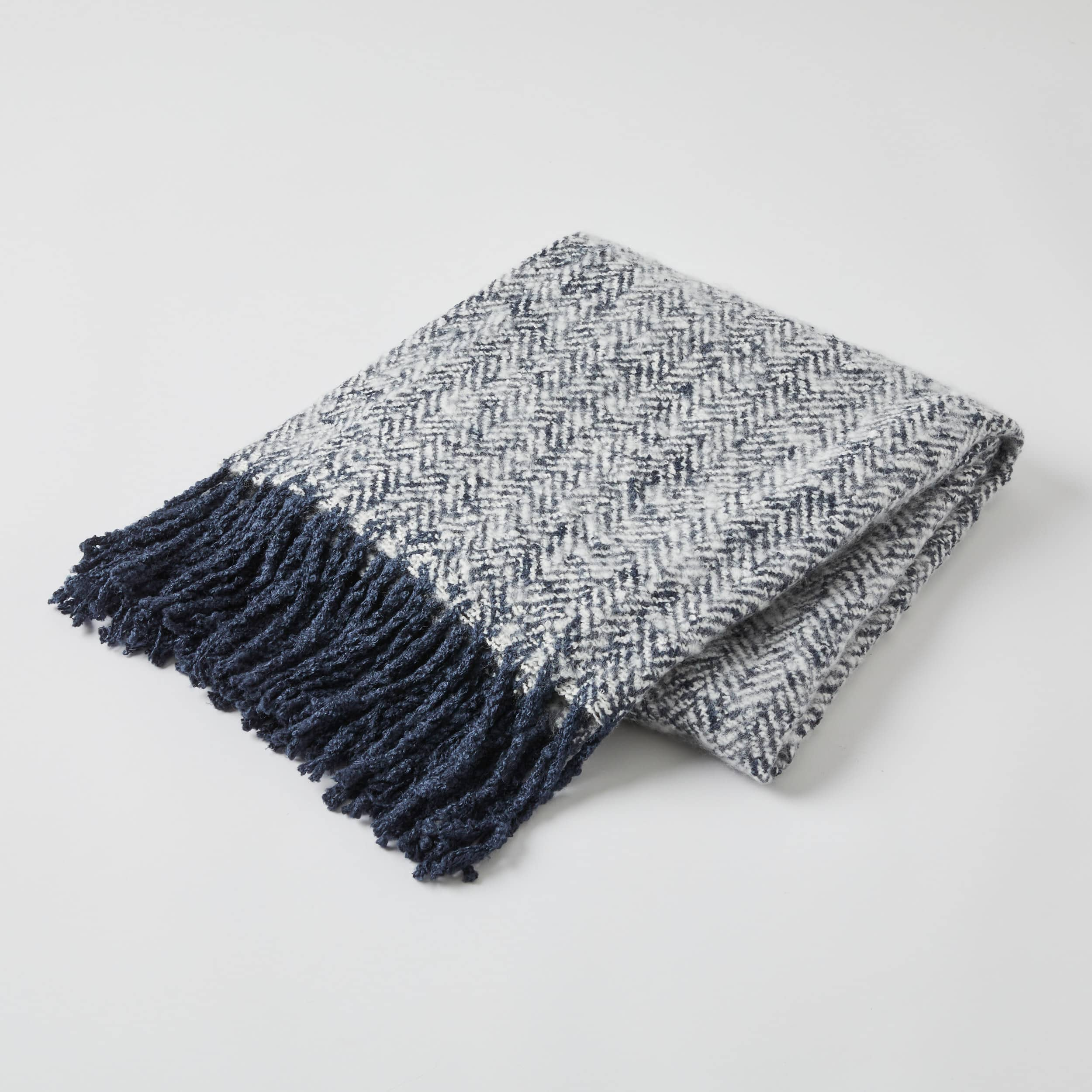 Navy Herringbone Acrylic Throw 127 x 152cm