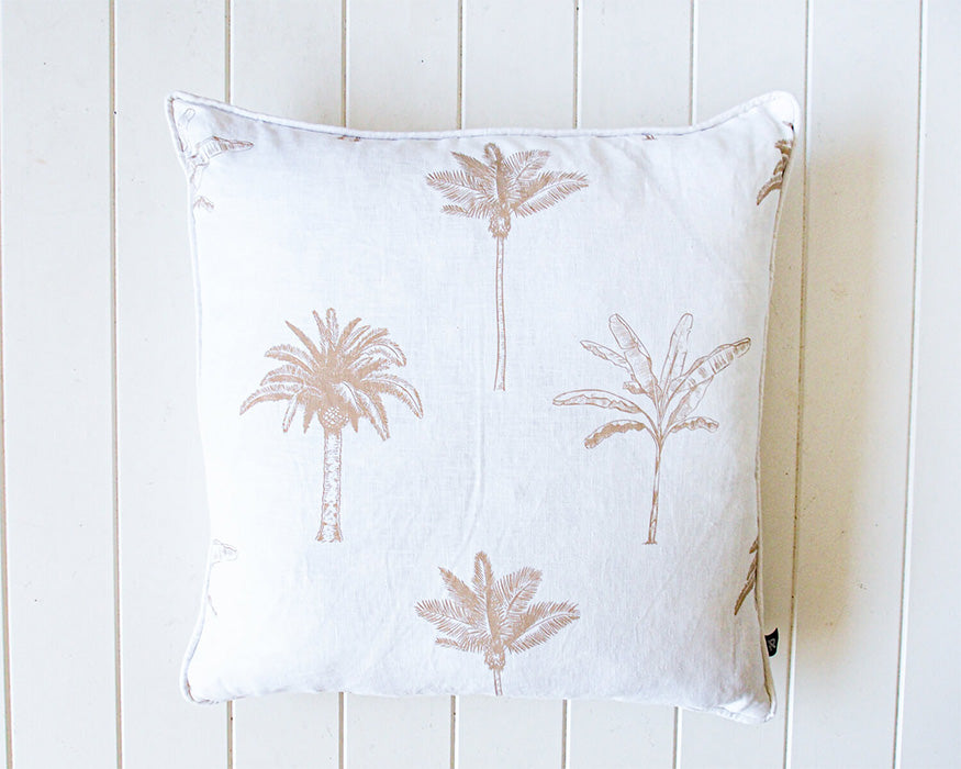 Palm Line Up Linen Cushion with Feather Insert 50 x 50cm