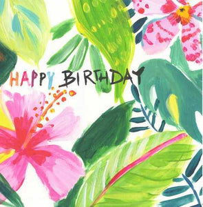 Hibiscus Tropics Happy Birthday Gift Card