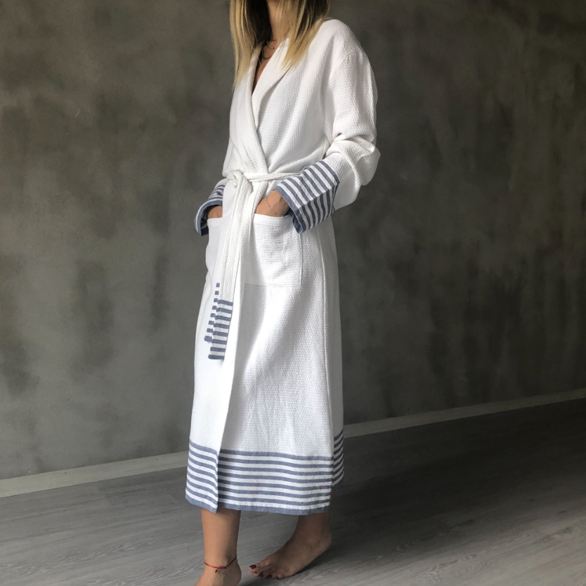 Perselis White & Navy Stripe 100% Cotton Bathrobe