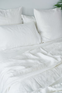 French Linen White Fitted Sheet
