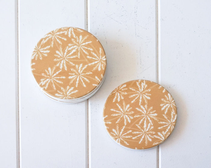 White on Mustard Palms Coasters Set of 4
