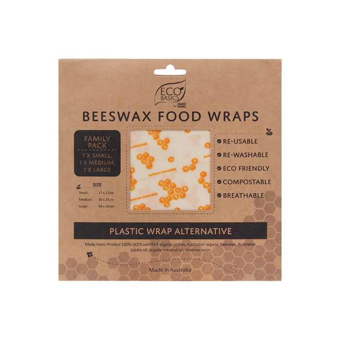 Eco Basics Beeswax Food Wraps Family Pack