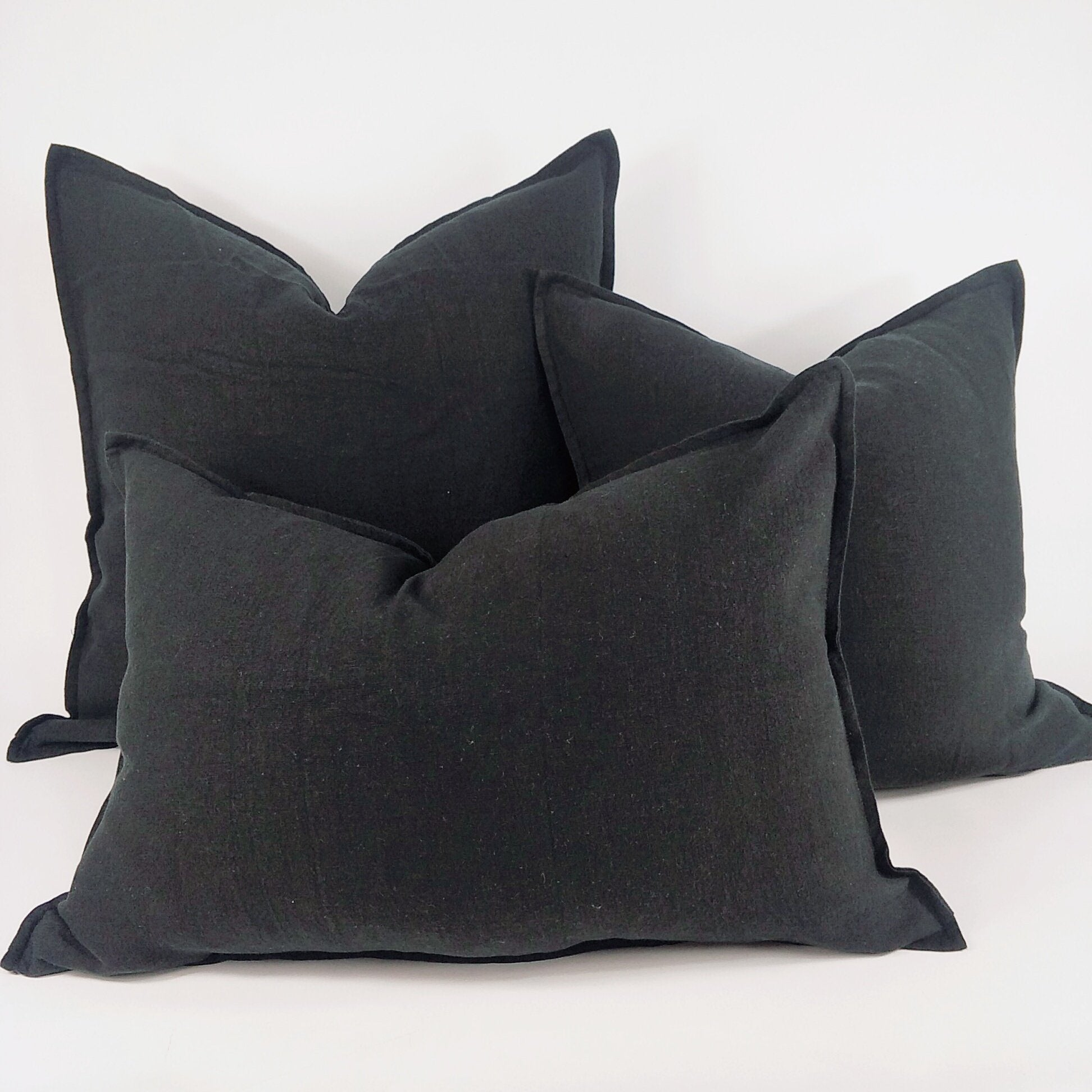 Black Swan Reims Stonewashed Linen Cushion with Feather