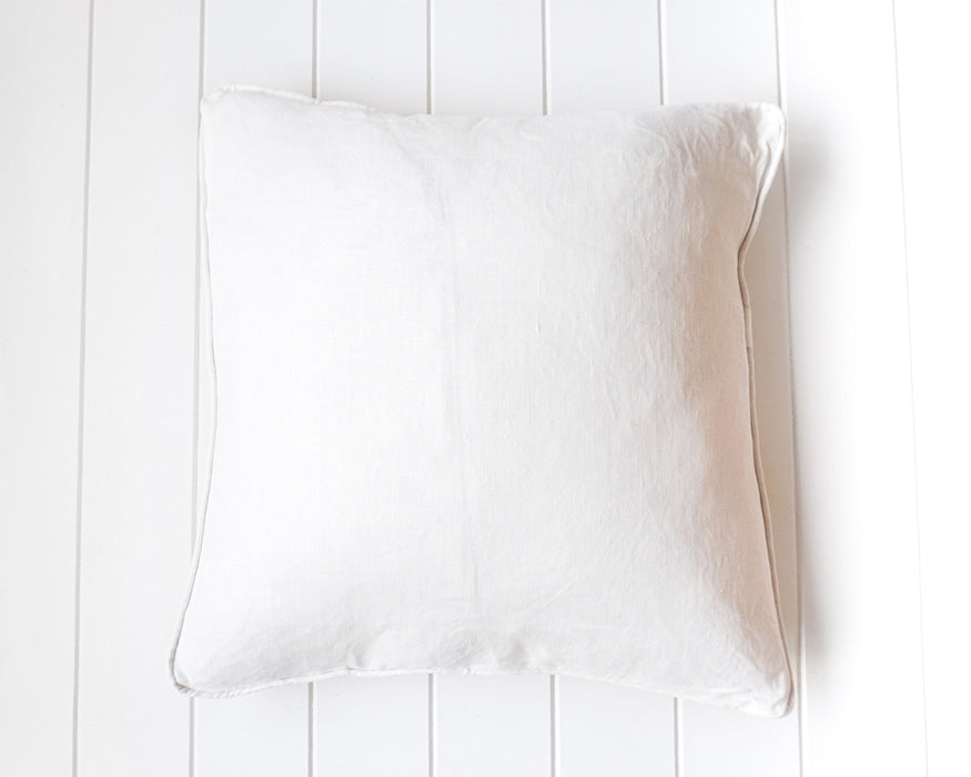 Off White Linen Cushion with Feather Insert 50 x 50cm