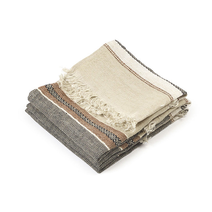 The Belgian Guest Hand Towel 100% Linen, Beeswax Stripe - 55x65