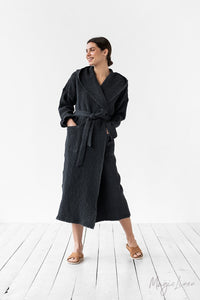Waffle Hooded Bath Robe - Dark Grey