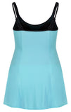 Sportswear, Swimwear, Swimdress in Black w/aqua or Aqua w/black, plus size active wear, UK 16, 18 and 20. Clothing back view.