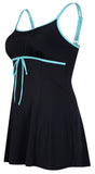 Sportswear, Swimwear, Swimdress in Black w/aqua or Aqua w/black, plus size active wear, UK 16, 18 and 20. Clothing front view.