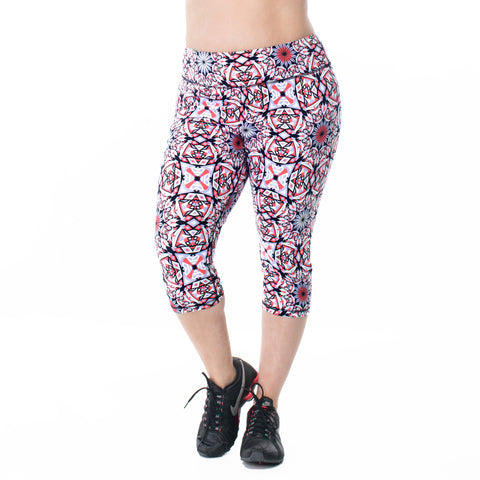 Plus size activewear capri legging, multi colour.  Available UK size 16-28. Front View