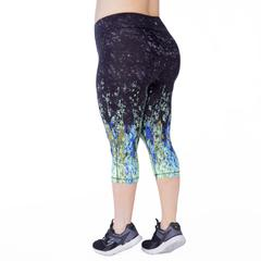 Plus size capri exercise legging with wicking cotton jersey. Comfortable and supportive mid to high rise. Available in UK size 14-28. Back View