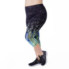 Plus size capri exercise legging with wicking cotton jersey. Comfortable and supportive mid to high rise. Available in UK size 14-28. Side view