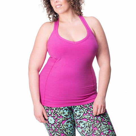 Sportswear, exercise sleeveless top in orchid or lime, plus size active wear, UK 14/16, 18/20 and 22/24. Full front view.