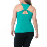 Sportswear, exercise sleeveless top in Rio. Plus size active wear, UK 14/16, 18/20 and 22/24. Back View