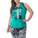 Sportswear, exercise sleeveless top in Rio. Plus size active wear, UK 14/16, 18/20, 22/24 and 26/28. Front View