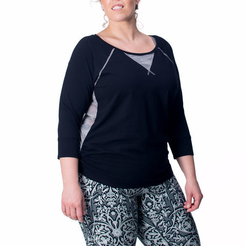 Sportswear, exercise tee in orchid or black, plus size active wear, UK 14/16, 18/20 and 22/24. Full front view.