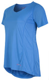 Sportswear exercise top, short sleeves in black, blue or pink.  Plus size active wear size 16, 18, 20.  Clothing view