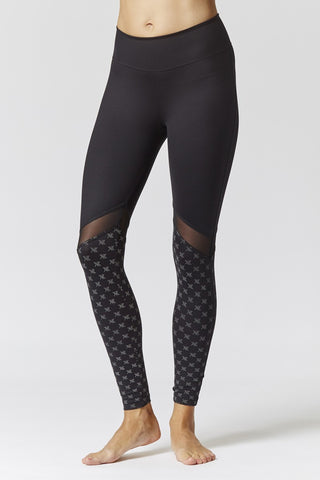 Sportswear reflective running leggings in Black-Print.  Plus size active wear size 12, 14, 16, 18, 20 and 22.  Full front view