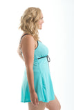 Sportswear, Swimwear, Swimdress in Black w/aqua or Aqua w/black, plus size active wear, UK 16, 18 and 20. Side view.