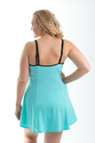 Sportswear, Swimwear, Swimdress in Black w/aqua or Aqua w/black, plus size active wear, UK 16, 18 and 20. Full back view.
