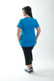 Sportswear exercise top, short sleeves in black, blue or pink.  Plus size active wear size 16, 18, 20.  Full back view