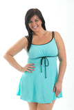 Sportswear, Swimwear, Swimdress in Black w/aqua or Aqua w/black, plus size active wear, UK 16, 18 and 20. Full front view.