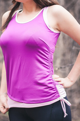 Sportswear, exercise sleeveless top in emerald or orchid, plus size active wear, UK 16, 18 & 20. Front view