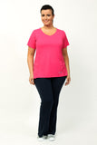 Sportswear exercise top, short sleeves in black, blue or pink.  Plus size active wear size 16, 18, 20.  Full front view