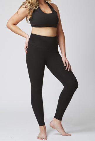 Sportswear exercise leggings in black.  Plus size active wear UK size 16, 18, 20.  Front view