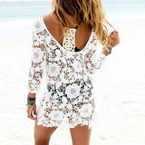 Floral Women Bathing Suit Lace Bikini Cover Up Beach Dress