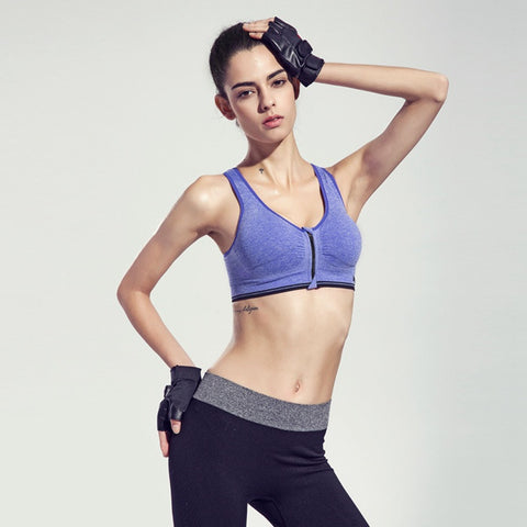 Binand Running Yoga Sports Bra w/ Front Zipper