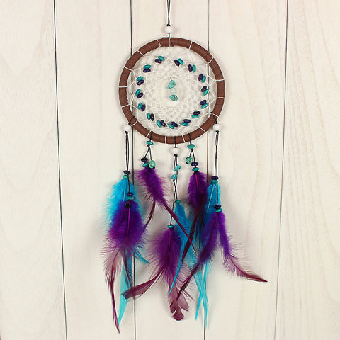 Maple Dream Catcher w/ Blue and Purple Feathers
