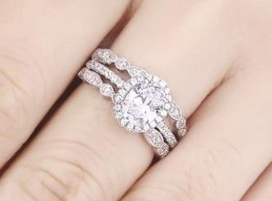 3.23c 3 Piece Wedding Ring Set Engagement Band Diamond Simulated CZ 925 Sterling Silver