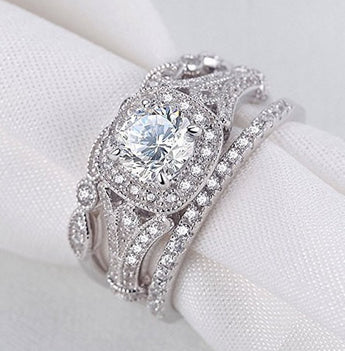3.24ct 3 Piece Wedding Ring Set Engagement Band Diamond Simulated CZ 925 Sterling Silver