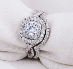 3.27ct Halo Twist Round Cut Wedding Ring Set Engagement Diamond Simulated 925 Sterling Silver