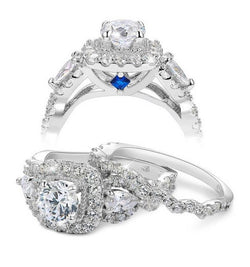 3.37c Halo Twist Round Cut Wedding Ring Set Engagement Diamond Simulated CZ 925 Sterling Silver
