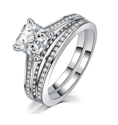 3.61ct Princess Cut Wedding Ring Set Engagement Diamond Simulated 925 Sterling Silver Platinum ep