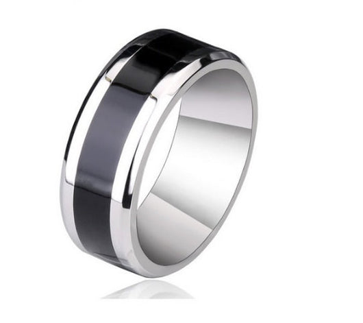 8mm Silver Black Tungsten Ring Men's Wedding Band