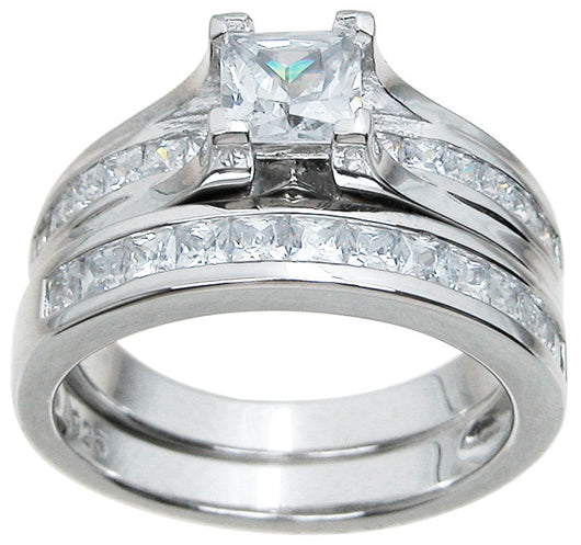 2.51ct Princess Cut Wedding Ring Set Engagement Diamond Simulated 925 Sterling Silver