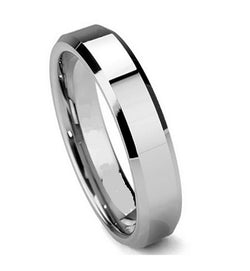 Titanium Ring 6mm Men's Wedding Band Beveled Edges Womens