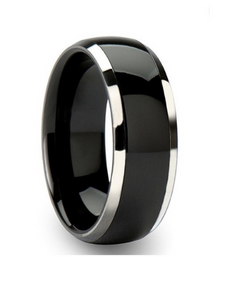8mm Black Silver Titanium Stainless Steel Ring Men's Wedding Band