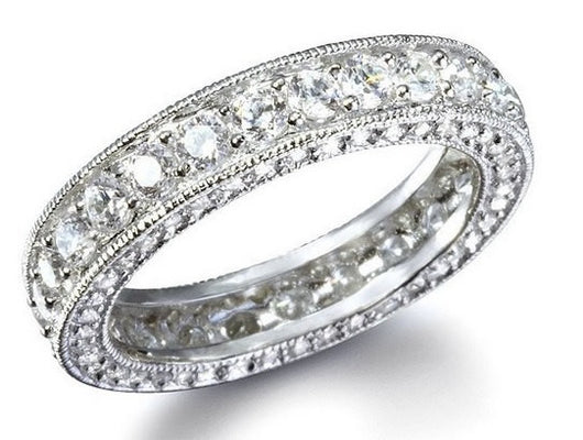 2.76 Engagement Ring Eternity Wedding Band Womens Simulated Diamond 925 Sterling Silver